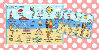 Seaside Themed Scene Word Mat Polish Translation - polish, seaside