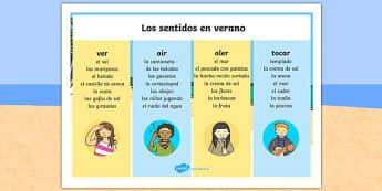 Summer Senses Spanish Word Mat