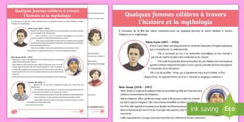 Fiche d'information : Quelques femmes célèbres - La fête des mères - cycle 3, Mother's Day, 28th May, 28 mai, maman, femmes, célèbres, famous, women, Marie Curie, Mot - cycle 3, Mother's Day, 28th May, 28 mai, maman, femmes, célèbres, famous, women,