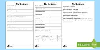 The Beatitudes Differentiated Activity Sheets - CfE Catholic Christianity, prayers, mass responses, blessings, beatitudes ,Scottish