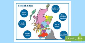 Scottish Cities Word Mat Gaelic English Word Mat