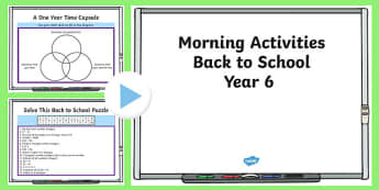 Year 6 Back to School Morning Activities PowerPoint 1 Week