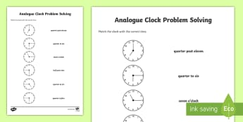 Matching the Correct Time Activity Sheet - Time, matching, clocks, o clock, half past, quarter past, quarter to, worksheet,