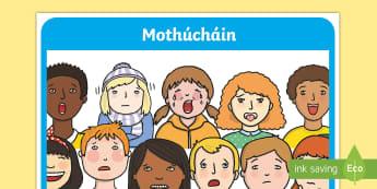 Mothúcháin A4 Display Poster - Requests - ROI, Irish, Gaeilge, mé féin, myself, feelings, emotions, mothúcháin,Irish