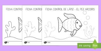 Fichas de motricidad fina trazo - el pez arcoiris