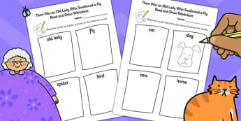 There Was an Old Lady Who Swallowed a Fly Read and Draw Worksheet