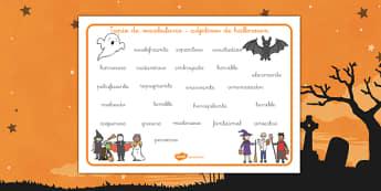 Tapiz de vocabulario Adjetivos de halloween