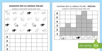 Diagrama mea cu animale polare - arctic, animale polare, polar, animale de la poli, numerașie, animale, polul nord, polul sud, Roman