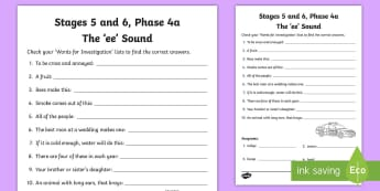 Northern Ireland Linguistic Phonics Stage 5 and 6 Phase 4a 'ee' Activity Sheet  - NI, Worksheet Keywords, word work, anagrams