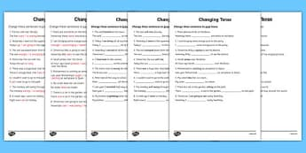 Changing Tense Worksheets - changing tense, past future present, tense worksheets, different tenses worksheets, ks2 literacy, ks2 tenses worksheets