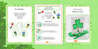 Shamrock Card Craft Instructions - shamrock, craft, instructions