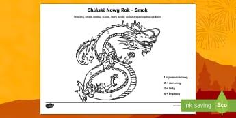 Kolorowanka z liczbami Chiński smok - smok, azja, chiny, chiński, chińskiego, nowy, rok, czerwony, tygrys, horoskop, zima, styczeń, lut