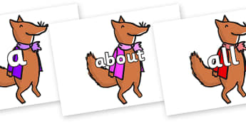 100 High Frequency Words on Small Fox 1 to Support Teaching on Fantastic Mr Fox - High frequency words, hfw, DfES Letters and Sounds, Letters and Sounds, display words