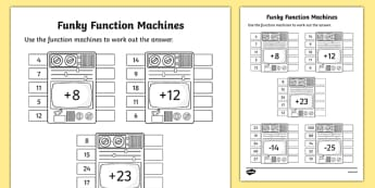 Funky Function Machines Activity Sheet, worksheet