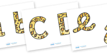 Display Lettering & Symbols (Leopard Print) - Display lettering, display letters, alphabet display, letters to cut out, letters for displays, coloured letters, coloured display, coloured alphabet