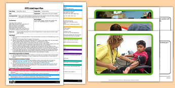 Staying Healthy EYFS Adult Input Plan and Resource Pack - People who help us, Doctors, help, surgery, waiting room, healthy, milk, water, fruit, vegetables, poorly, ill, medicine