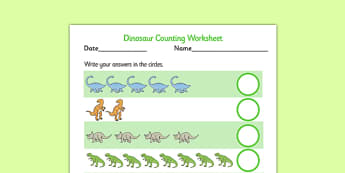 My Counting Worksheet (Dinosaurs) - Counting worksheet, dinosaur, counting, activity, how many, foundation numeracy, counting on, counting back, history, t-rex, stegosaurus, raptor, iguanodon, tyrannasaurus rex