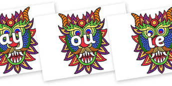 Phase 5 Phonemes on Chinese New Year Dragon Mask - Phonemes, phoneme, Phase 5, Phase five, Foundation, Literacy, Letters and Sounds, DfES, display
