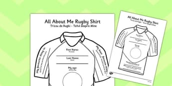All About Me Rugby Shirt Worksheet Romanian Translation - romanian