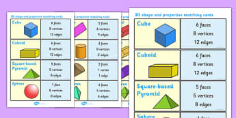 3D Shape and Properties Matching Cards - 3D shape, 3D, shapes, shapes and properties, property, matching cards, flashcard, cards, matching, activity