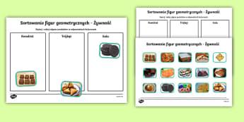 Sortowanie figur geometrycznych Żywność - koło, trójkąt, kwadrat, figury, geometryczne, geometria, kształty, jedzenie, zdjęcia, z życia,