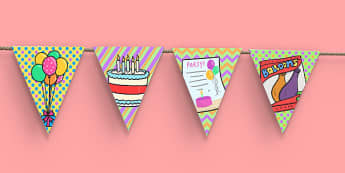 2nd Birthday Party Picture Bunting - 2nd birthday, 2nd birthday party, birthday party, birthday, party, new parents, picture bunting
