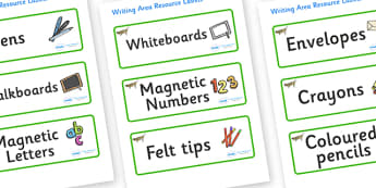 Grasshopper Themed Editable Writing Area Resource Labels - Themed writing resource labels, literacy area labels, writing area resources, Label template, Resource Label, Name Labels, Editable Labels, Drawer Labels, KS1 Labels, Foundation Labels, Found