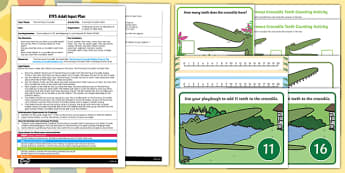 EYFS Counting Crocodile Teeth Adult Input Plan and Resource Pack to Support Teaching on The Enormous Crocodile