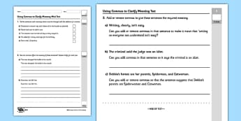 Using Commas to Clarify Meaning Test - GPS, commas, clarify, ambiguity, change meaning, ks2, key stage 2, year 5, year 6