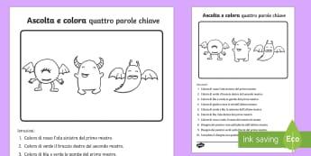 Ascolta e Colora 4 parole Chiave Attività - Ascolta, e ,colora, italianok italian, esercizio, comandi, dettato