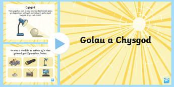 Pŵerbwynt Golau a Chysgod - golau, goleuni, cysgod, tywyll, tywyllwch, gwyddoniaeth,Welsh