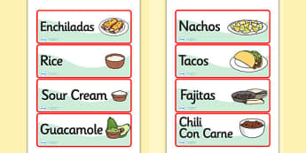 Mexican Restaurant Role Play Labels - mexican, restaurant, mexican restaurant, role play, role play, labels, role play labels, labels for role play