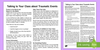 How to Talk to Your Class about Traumatic Events Adult Guidance - teacher guidance, traumatic events, media reports, KS2, year 3, year 4, year 5, year 6, yr 3, yr 4,
