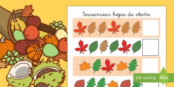 Ficha de actividad: Secuenciar dibujos - Otoño - secuencias, secuenciar, dibujos, recortar, punzar, pegar, otoño, estación, estaciones, patrones, m