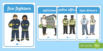 People Who Help Us Display Posters - People who help us, Display, Poster, Role Play, Doctor, Nurse, Teacher, Police, Fire fighter, Paramedic, Builder, Caretaker, Lollipop, Traffic Warden, Lunchtime supervisor, lunch time assistant, midday assistant