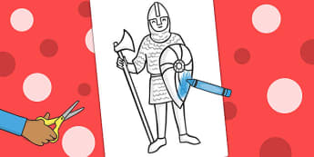 Knight Colouring Cut Out - colour, cutting, motor, skill, knights