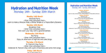 Elderly Care Hydration and Nutrition Week Plan - Elderly, Reminiscence, Care Homes, Hydration and Nutrition Week