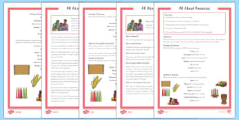 All About Kwanzaa Differentiated Comprehension Go Respond Activity Sheets - Kwanzaa, Go Respond, reading comprehension - Kwanzaa, Go Respond, reading comprehension, USA, worksheet