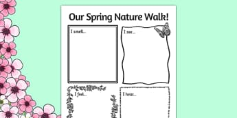 Our Spring Nature Walk Writing Frame - spring, nature, walk