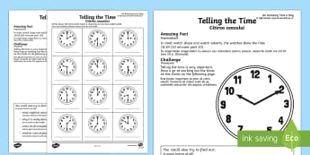 Telling the Time Activity Sheet English/Romanian - Amazing Fact Of The Day, activity sheets, powerpoint, starter, morning activity, February, telling t