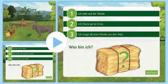 Farm Animal What Am I? PowerPoint German - Animals, German, farm, game, MFL