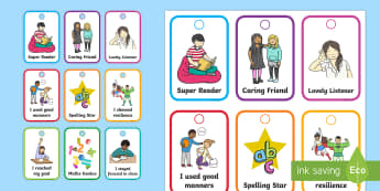 Brag Tags Flashcards - brag tags, behaviour management, positive reinforcement, intrinsic motivation, pre-primary, year 1,