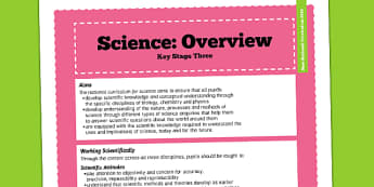KS3 Science Curriculum Overview - new curriculum, teaching aid