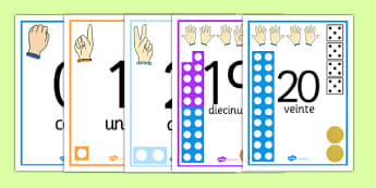 Visual Number Line Posters 1-20 Spanish - spanish, count, counting, counting aid