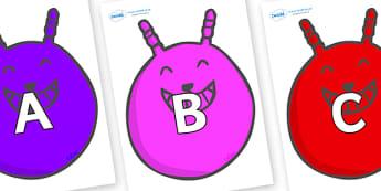 A-Z Alphabet on Space Hoppers - A-Z, A4, display, Alphabet frieze, Display letters, Letter posters, A-Z letters, Alphabet flashcards