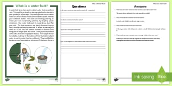 CfE Outdoor Learning Water Butt Differentiated Reading Comprehension Activity - CfE Outdoor Learning, nature, forest, woodland, playground, outdoor area, empty classroom day, outdo