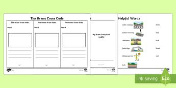 The Green Cross Code Writing Activity Sheet - Road Safety Week, safety, Ks1, Reception, EYFS, road, crossing, green cross code, PSHE, writing, lea