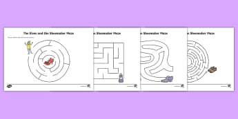 The Elves and the Shoemaker Differentiated Maze Activity Sheet Pack, worksheet