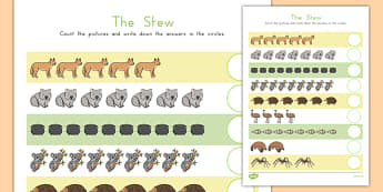 The Stew Counting Sheet - australia, the stew, wombat stew, marcia k vaughan, counting
