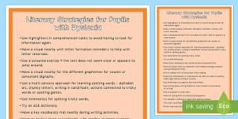 Dyslexia Strategies  A4 Display Poster - literacy strategies, dyslexia, dyslexia supports, dyslexia prompts, literacy prompts, dyslexia strat